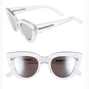BCBC Clear Lucite Mirrored Cat Eye Sunglasses